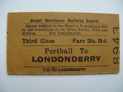 GNR I Great Northern Railway Ireland Ticket Porthall - Londonderry 3rd class