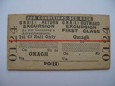 GNR I Great Northern Railway Ireland Ticket Omagh - excursion 1st class