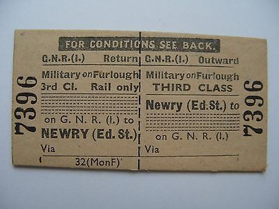 MILITARY on FURLOUGH Ticket Great Northern Railway Ireland GNR I Newry (Ed.St.)
