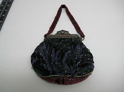 ANTIQUE VICTORIAN Flapper  BEADED EVENING BAG PURSE MULTICOLOR AS-IS rare