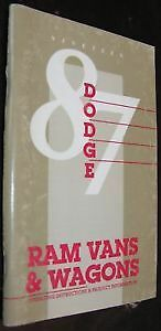NOS Mopar 87 Dodge Ram Vans & Wagons Owners Manual NEW FREE SHIPPING