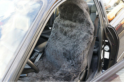 Pair of Sheepskin Car Seat Covers Wool Covers Diamond Shape Charcoal Gray NEW 67