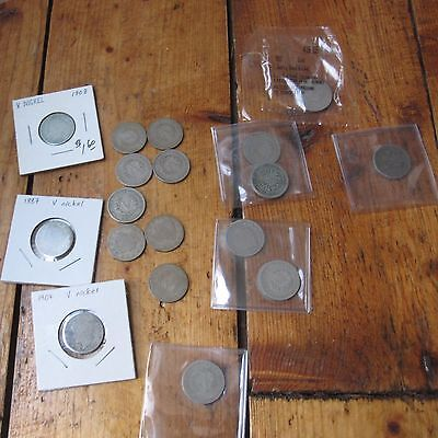 V Nickel Nickels 5c Cent Liberty Head Mixed Job Lot of 18 Coins Mixed Date USA