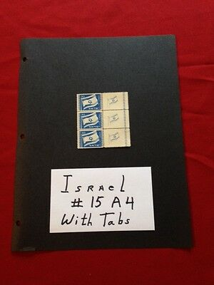 Interesting Israel 3 Stamps Together of #15, A4, MINT Stamps With Tabs,Mint, n/h