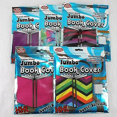 Stretchable Book Covers Lot of 5 Jumbo Fabric Its Academic Tie Die Chevron New
