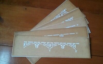 ANTIQUE STENCILS (5) ARTS & CRAFTS STYLE  EARLY 1900s NEVER USED