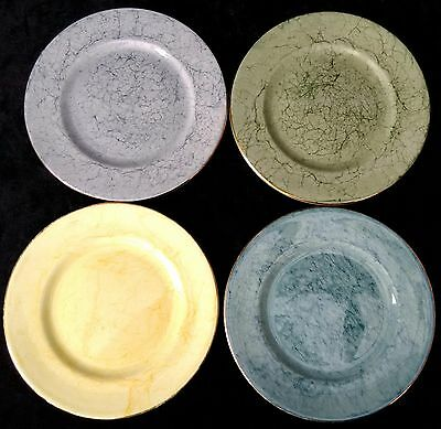 Vintage Harlequin Gossamer 4x Tea Side Plates Blue Green Yellow Grey Gold Rim