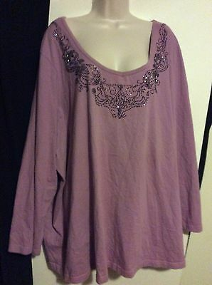 Womens Plus 4X Purple Long Sleeve Shirt Casual Cotton Bead Neck Design Knit Top