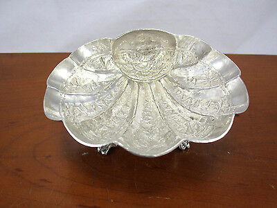 Islamic Persian Style Silver Hand Hammered Nut Footed Clam Shell dish