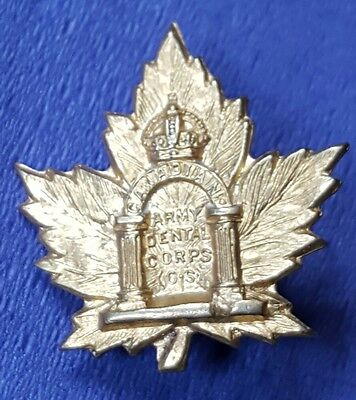 Officers Canadian Army Dental Corps Collar Badge OS Overseas