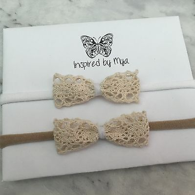 Headband Baby Girl Toddler Newborn Small Lace Bow Nylon Hair Band Accessories