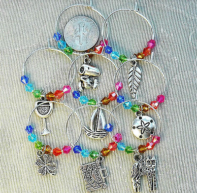 8 Rainbow Wine Charms Multi Themed Cat Snoopy Sailboat Suitcase Crystals ///