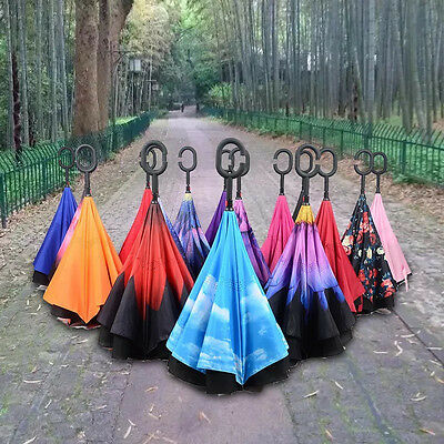 Windproof C-Handle Upside Down Design Big Double Layer Reverse Inverted Umbrella