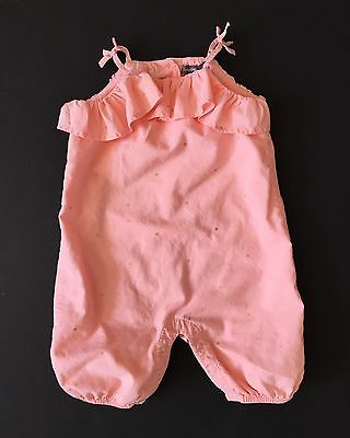 Baby Gap Girls Peach And Gold Dotted Romper - Size 3-6 Months