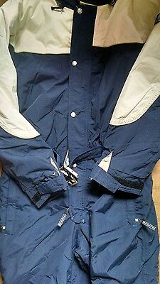Mens Blue Quechua Insulated One Piece Decathlon Ski Snowmobile Suit Xl