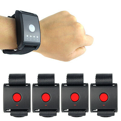 Wireless Restaurant Waiter Calling Pager System Watch Receiver+ 4* Call Button