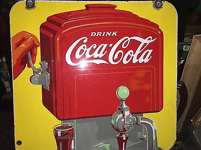Antique Coca Cola Double Sided Porcelain Fountain Sign W Hardware Coke Minty 41'