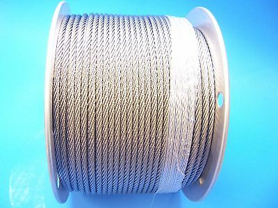 T316 Stainless Steel Wire Rope Cable, 3/16, 7x7, 100 ft