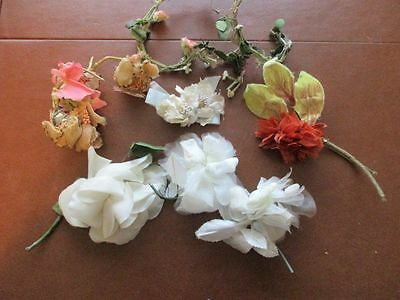 Lot of 5 Millinery Flowers Roses