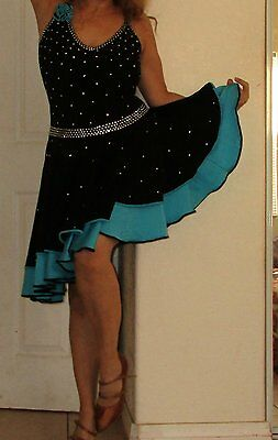 Brand New Blue, Black, Latin Dance Competition Dress, Crystal Stones  women Medi