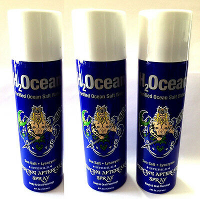H2ocean Piercing Aftercare Spray For Body and Oral Piercing 4 Oz - Set of 3