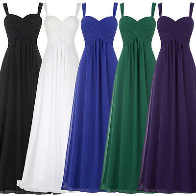 White Long Chiffon Bridesmaid Evening Formal Prom Party Cocktail Gown Maxi Dress