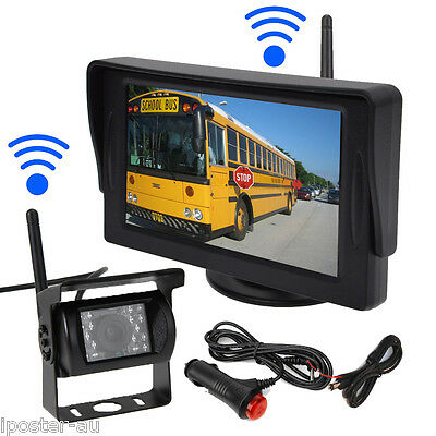 "Wireless Car Rear View Kit 4.3"" Monitor+18 Led Night Reversing CCD Camera 12-24V"