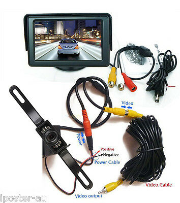 "4.3"" TFT LCD Monitor Car Rear View Reverse Back Up Camera Wired Kit Night Vision"
