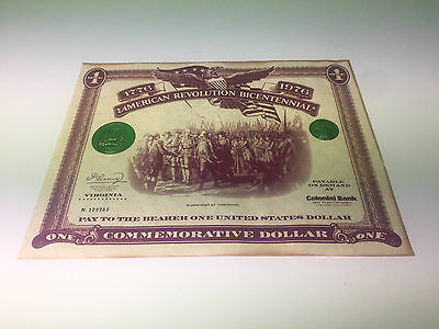 American Revolution Bicentennial One Commemorative Dollar Colonial Bank Virginia