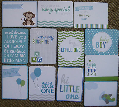 "'BABY BOY' 3"" x 4""  PROJECT LIFE CARDS -  pack of 12"