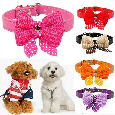 Adjustable Bowknot PU Leather Dog Cat Collars Puppy Pet Leash Necklace Collars