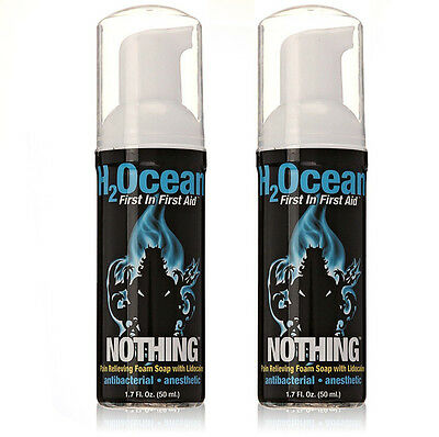 H2OCEAN Nothing Pain Relief Foam Soap W/ Lidocaine 1.7 oz Aftercare Set of 2