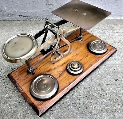 VINTAGE POST OFFICE letter brass balance SCALES & 3 weights UK BRITISH English