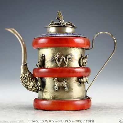 China Old Collectibles Handwork Silver Jade Bracelet Monkey Teapot NRR