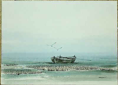 """Vintage Indonesian Watercolour - Boat Seascape - Signed """"Jasan"""""""