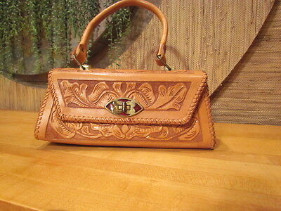 Vintage Mexican  Hand Tooled Leather Purse Handbag