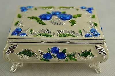 Rare Collectibles Old Decorated Handwork Miao Silver Carving Flower Jewel Box NE