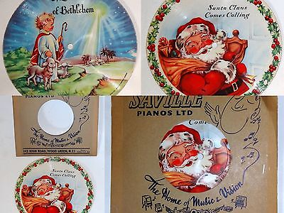 Vintage Record Santa Claus Comes Call Little Town Bethlehem Saville Pianos 1949