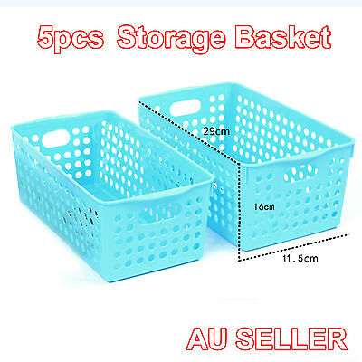New 5x Rectangle Storage Basket Multi Purpose Plastic Wicker Pattern Carry Holes