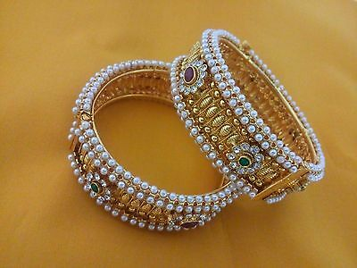 New Indian Fashion Jewelry Pearl Bangle Bollywood Ethnic Gold Plated Traditional