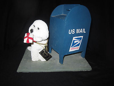 MY DOG - Collectable Figurine - BICHON FRISE - Mail Box White Dog Figurine VINT