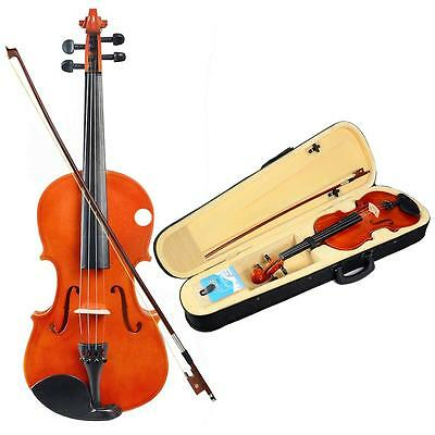 Full Size 4/4 Natural Acoustic Violin Fiddle with Case+Bow+Rosin+Bridge