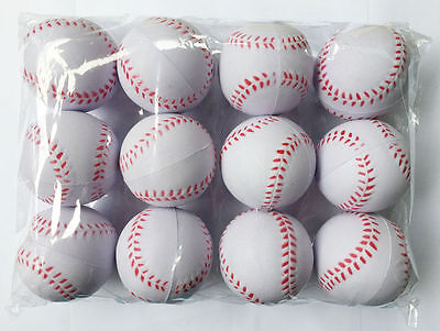 12x Sport Training Practice Baseball Elastic PU Foam Base balls Softball White