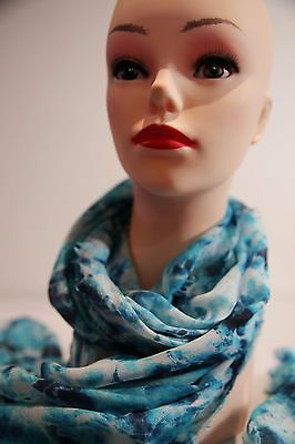 SABA Water print long  scarf blue multi in colour new with tag