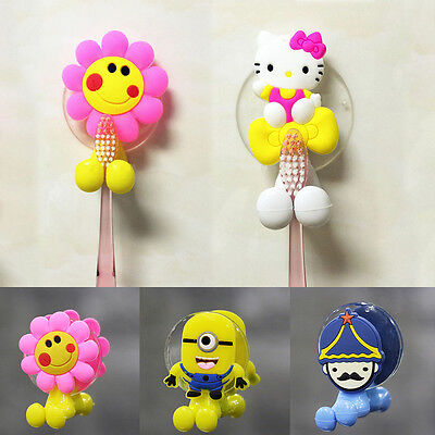 Kids Family Cartoon Figure Silicone Toothbrush Holder Suction Cup Bathroom HOT