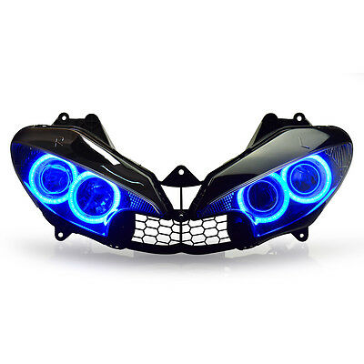 KT LED HID Angel Halos Eyes Headlight Assembly For Yamaha R6 2003-2005 Blue Kit