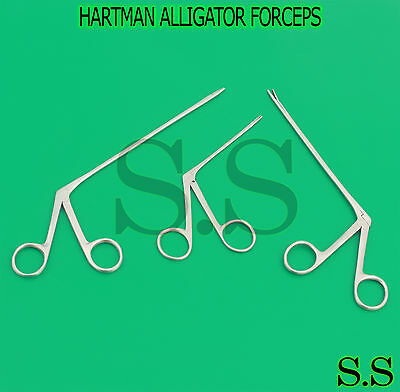3 Pcs Hartman Alligator Forceps Serrated 3.5'' 5.5'' 6.5'' Surgical Instruments
