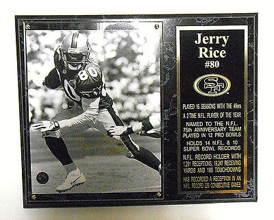 Jerry Rice Signed Auto Autographed Football Ball SF 49ers Plaque HOF Super Bowl