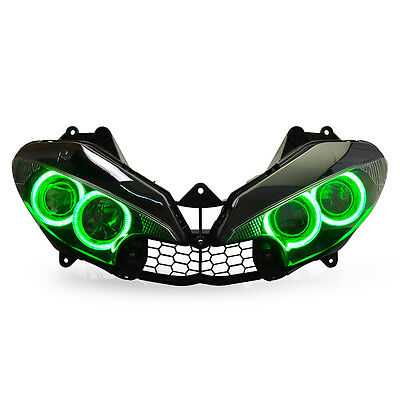 KT LED HID Angel Halos Eyes Headlight Assembly For Yamaha R6S 2006-2009 Green