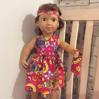 18 Inch dolls dress,hair bow,pink,peace,hippie,American girl,our generation
